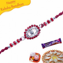 American Diamond With Red Beads Diamond Rakhi