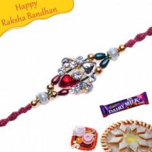 Multicolour Beads, American Diamond Rakhi