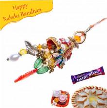 zardoshi and colour full beads lumba rakhi