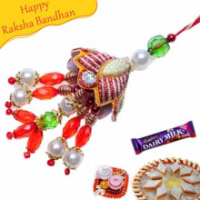 Wooden Beads With Golden Balls And Diamond Fancy Rakhi