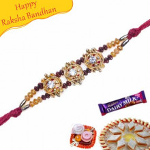 Maroon, Wooden Beads Jewelled Rakhi