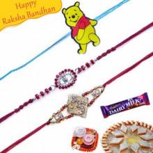 Om diamond and Colourfull Beads Rakhis Trio