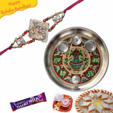 Buy Rakhi Thali With OM Jewelled Rakhi Online on Rakshabandhan with India, worldwide delivery options