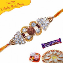 Buy Rudraksh, American Diamond Jewelled Rakhi Online on Rakshabandhan with India, worldwide delivery options