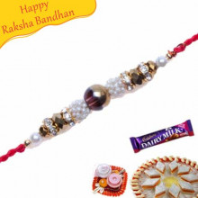Multicolour Pearls And Diamond Pearl Rakhi