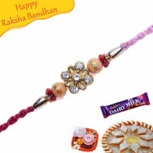 Wooden Beads, Diamond Jewelled Rakhi