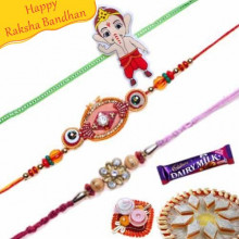 Kundan Zardosi and Ganesha Kids Rakhis Trio