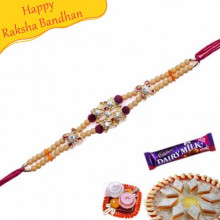 Wooden Beads, Velvet Ball Jewelled Rakhi