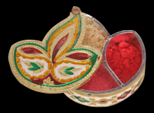 Diya / Dipak Shaped Minakari Decorative Dryfruit cum Kumukm Box