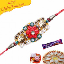 Buy Stone And Glass Beads Mauli Rakhi Online on Rakshabandhan with India, worldwide delivery options
