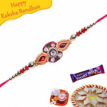 Buy Golden Beads Jewelled Rakhi Online on Rakshabandhan with India, worldwide delivery options