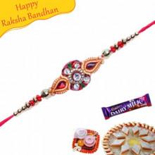 Buy Golden Beads Jewelled Rakhi Online on Rakshabandhan with India, worldwide delivery options