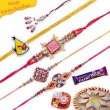 Om, Velvet, Zardozi and Beads Five Pieces Rakhi Set