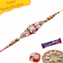 Multicolour Beads Diamond Bracelet Rakhi