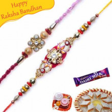 Wooden Bead, Stone Glass Bead Rakhi Pair