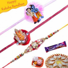 Kalash and krishna Kids rakhis Trio