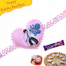 Pink Heart Butterfly Kids Rakhi