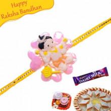 Bal Hanuman Pink Flower Kids Rakhi