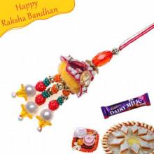 Center Golden Diamond Ball With Golden Beads Fancy Rakhi
