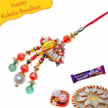 Trendy Glass Cut Beads Lumba Rakhi