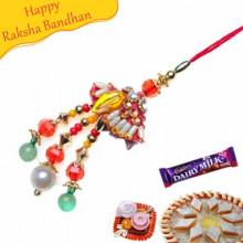 Trendy Glass Cut Beads Lumba Rakhi