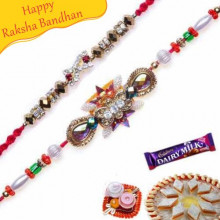 Multicolour Stone and Heart Beads Diamond Rakhi set