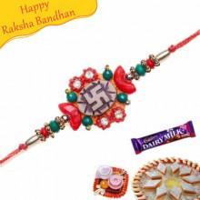 Swastik Beads Diamond Rakhi