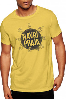 Navri Praja - Gujarati Funky Cotton Tshirt Yellow