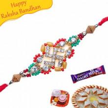 Buy Swastik With Diamond Rakhi Online on Rakshabandhan with India, worldwide delivery options