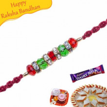 PEARL, RED BEADS KUNDAN RAKHI