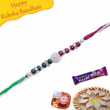 Colourfull Pearls, American Diamond Rakhi