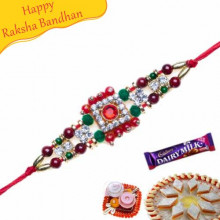 American Diamond And Coloured Pearls Bracelet Rakhi