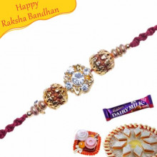Natural Rudraksh , Gold Glass Bead and American Diamond Beads