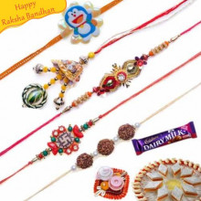 Swastik, Rudraksh, Lumba Five Pieces Rakhi Set