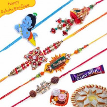 Buy Premium Kids and Jewelled Five Pieces Rakhi Set Online on Rakshabandhan with India, worldwide delivery options