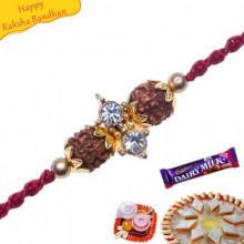 American Diamond ,Rudraksh wooden beads Rakhi