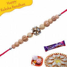 Rudraksh and Wooden Beads Rakhi with American Diamonds