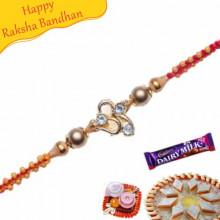 Diamond Wooden Beads Jewelled Rakhi
