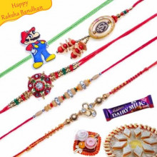 Buy Diamond, Om Lumba Five Pieces Rakhi Online on Rakshabandhan with India, worldwide delivery options