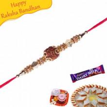 Single Rudraksh , Gold and Wooden Beads Rakhi