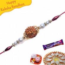 Pearl Beads , Rudraksh and Wooden Bead Rakhi