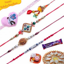 Diamond, Rudraksh, Ben10 Heart Five Pieces Rakhi