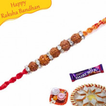 Five Natural Rudraksh with American Diamonds Rakhi