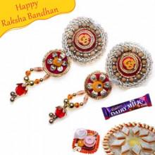 Om With Wooden Beads Shagun Rakhi