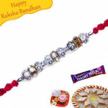 Silver Beads, Diamond Pearl Rakhi