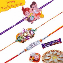 Kundan and Zardoshi with Kids Rakhis Trio