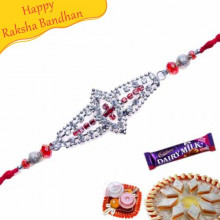 Flower Design Multicolour Beads Jewelled Rakhi