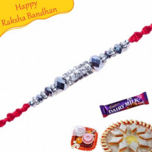 White Beads, Diamond And Crystal Mauli Rakhi