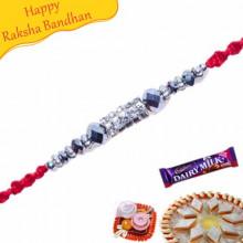 White Beads, Diamond And Crystal Mauli Rakhi