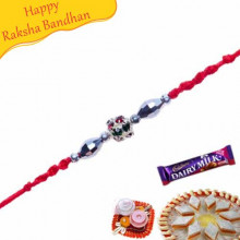 Pearl Rakhi With Multicoloured Crystals